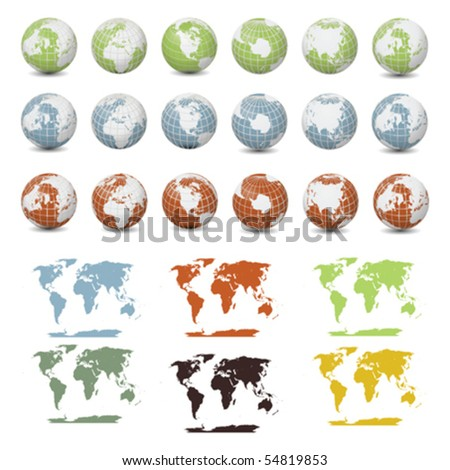 Vector Collection of Earth Maps and Globes - stock vector