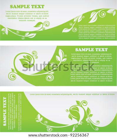 vector collection of eco headers - stock vector