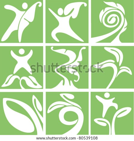 vector collection of ecological icons - stock vector