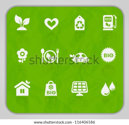 Vector collection of ecological icons on crumpled paper texture, set 1. Image contains transparency. EPS 10 - stock vector