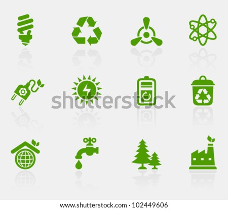 Vector collection of ecological icons, set 2. Image contains transparency effect in reflections and can be placed on every surface. EPS 10 - stock vector