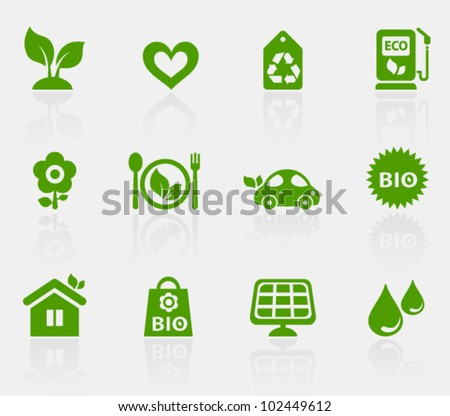 Vector collection of ecological icons, set 1. Image contains transparency effect in reflections and can be placed on every surface. EPS 10 - stock vector