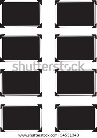 Vector Collection of Eight Blank Pictures with photo corners - stock vector