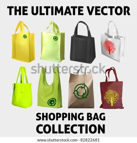 vector collection of eight shopping bags - stock vector