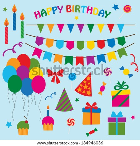 vector collection of elements for birthday party - stock vector