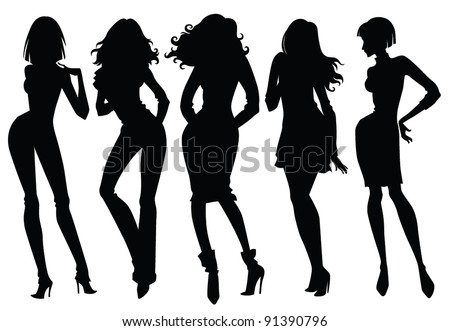vector collection of fashionable girl silhouettes - stock vector