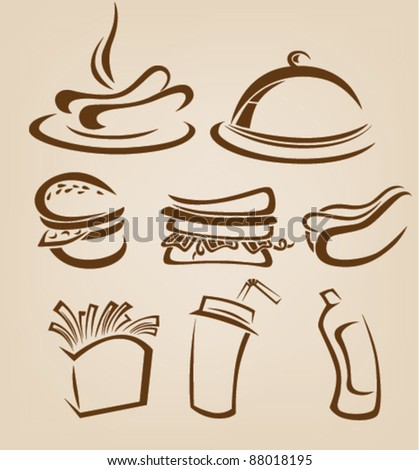 vector collection of fast food images - stock vector