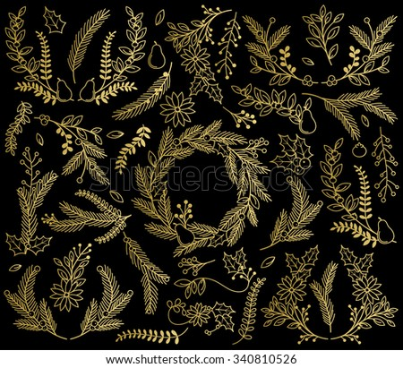 Vector Collection of Faux Gold Foil Christmas Holiday Florals - stock vector
