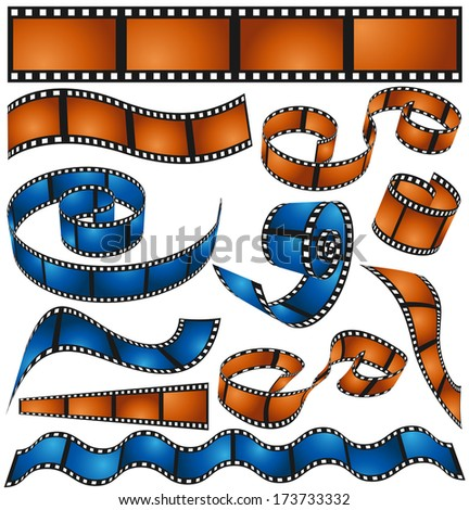 Vector collection of film reels. - stock vector