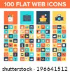 Vector collection of flat and colorful web icons on SEO, business, shopping and technology theme. Design elements for mobile and web applications. - stock vector