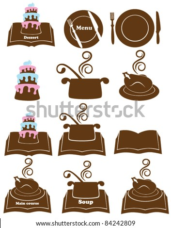 vector collection of food, menu and cook book - stock vector