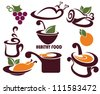 vector collection of  food symbols and layouts - stock vector