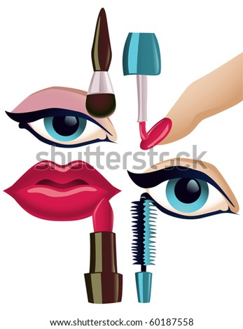 Vector collection of four basic face-related make-up items - stock vector