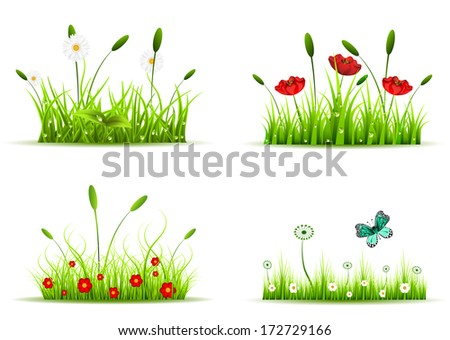 Vector collection of four different sets with grass and flowers. - stock vector