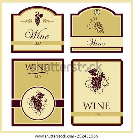 Vector collection of four wine labels with the image of grapes and labeled in yellow and burgundy colors - stock vector