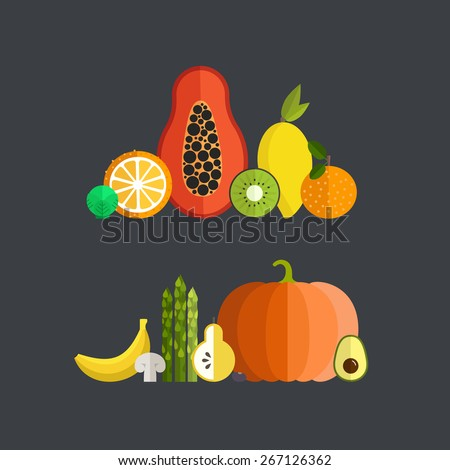Vector collection of fresh healthy fruits and vegetables made in flat style - each one is isolated for easy use. Healthy lifestyle or diet design element.  - stock vector