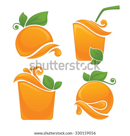 vector collection of fresh stylized orange fruits, stickers and emblems  - stock vector