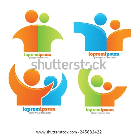 vector collection of, friend, friendship and human symbols and emblems - stock vector