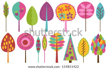 Vector Collection of Funky Retro Stylized Trees - stock vector