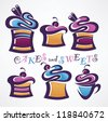 vector collection of funny sweets and cakes - stock vector