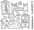 Vector collection of furniture - stock photo