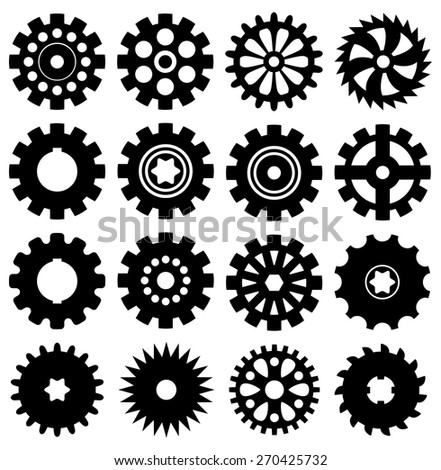 vector collection of gear icons - stock vector