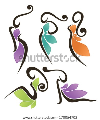 vector collection of girls look like a bright flowers - stock vector