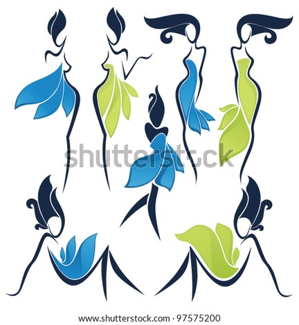 vector collection of girls look like a flowers - stock vector