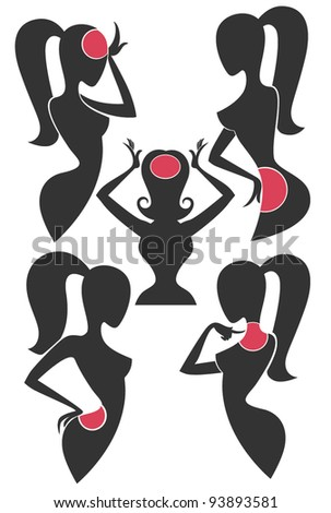 vector collection of girls silhouettes  with pain dots on their bodies - stock vector