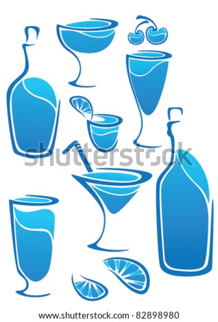 vector collection of glasses and bottles