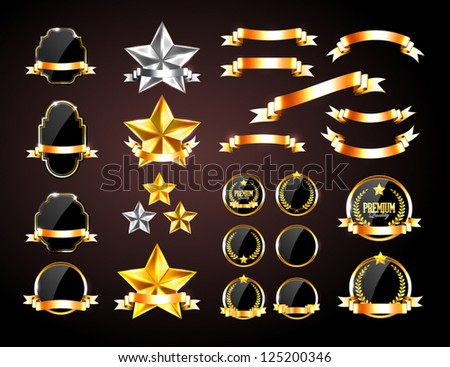 Vector collection of golden and silver decorative elements: badges, banners, stars and ribbons - stock vector