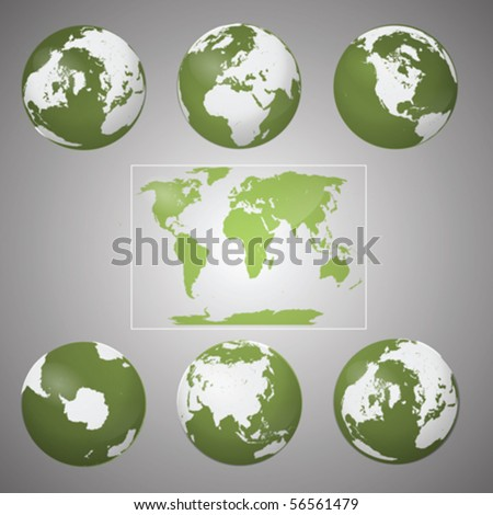 Vector Collection of Green Earth Globes on Grey Background - stock vector