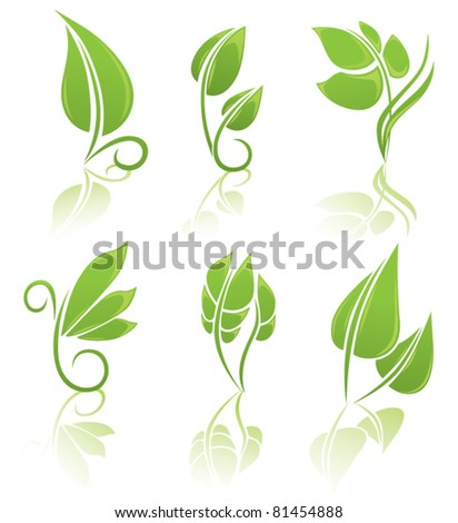 vector collection of green leaf's images - stock vector