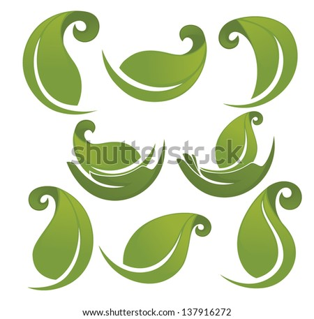 vector collection of green leaves and hands images - stock vector