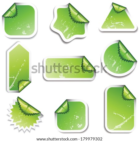 Vector collection of green stickers.