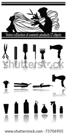 vector collection of hairdresser's equipment - stock vector