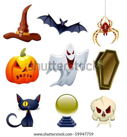 Vector collection of Halloween-related objects and creatures - stock vector