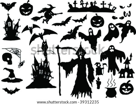 vector collection of halloween silhouettes - more available - stock vector