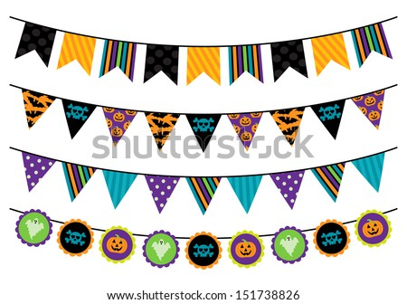 Vector Collection of Halloween Themed Bunting - stock vector