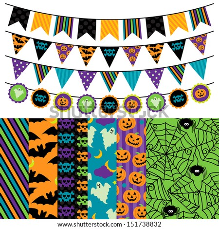 Vector Collection of Halloween Themed Bunting and Seamless Tileable Backgrounds - stock vector