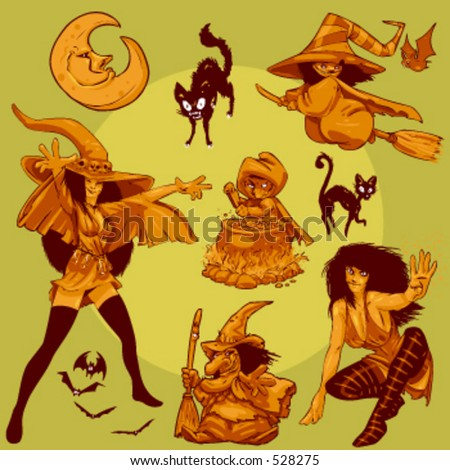 vector collection of halloween Witches. This is the second part of my Halloween Characters Special. - stock vector