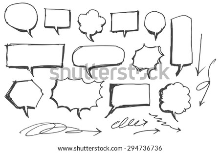 Vector Collection of Hand Drawn Doodle Style Speech Bubbles
