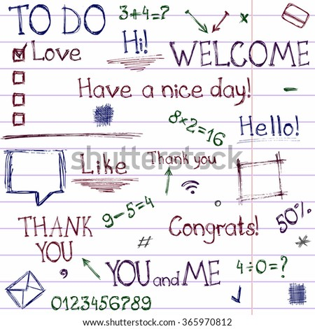 """Vector collection of hand drawn elements and phrases. Set includes frames, dividers, numbers, mathematical exercises, To Do List template. Set has phrases """"Thank you"""", """"You and Me"""", """"Have a nice day"""". - stock vector"""