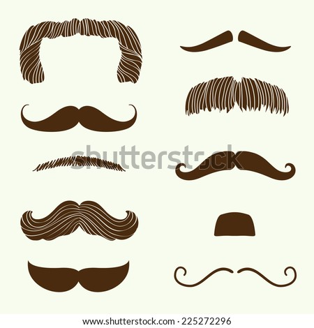 Vector collection of hand drawn mustaches | Cartoon mixed brown moustache silhouettes set - stock vector