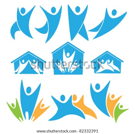 vector collection of happy family and homes