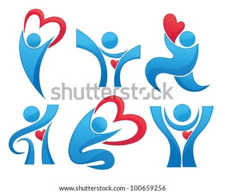 vector collection of health, hearts and people - stock vector