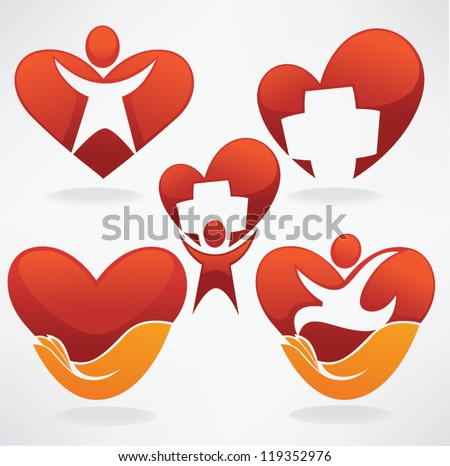 vector collection of health, hearts,  people and medicine symbols and icons - stock vector