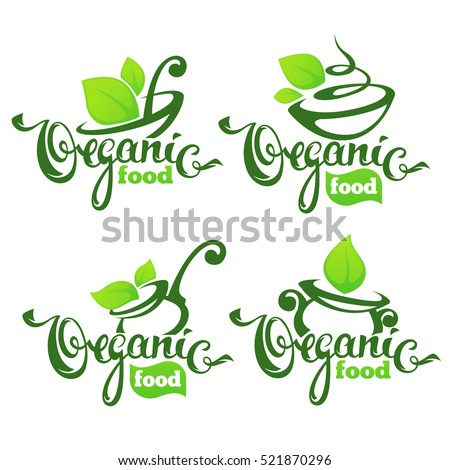 vector collection of healthy cooking logo and  organic food symbols