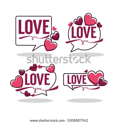vector collection of hearts and love logo, emblems, labels and forms