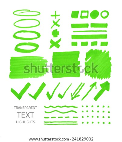 Vector collection of highlighter marker spots and signs, hand drawn decorative symbols, transparent elements isolated on white  - stock vector